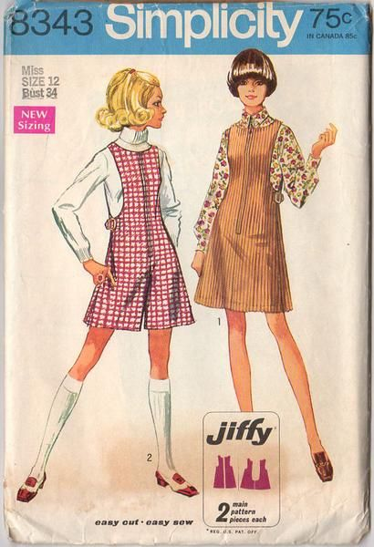 ea4719e75a3fd Vintage 1969 Simplicity Sewing Pattern 8343 Misses Jumper and Mini ...
