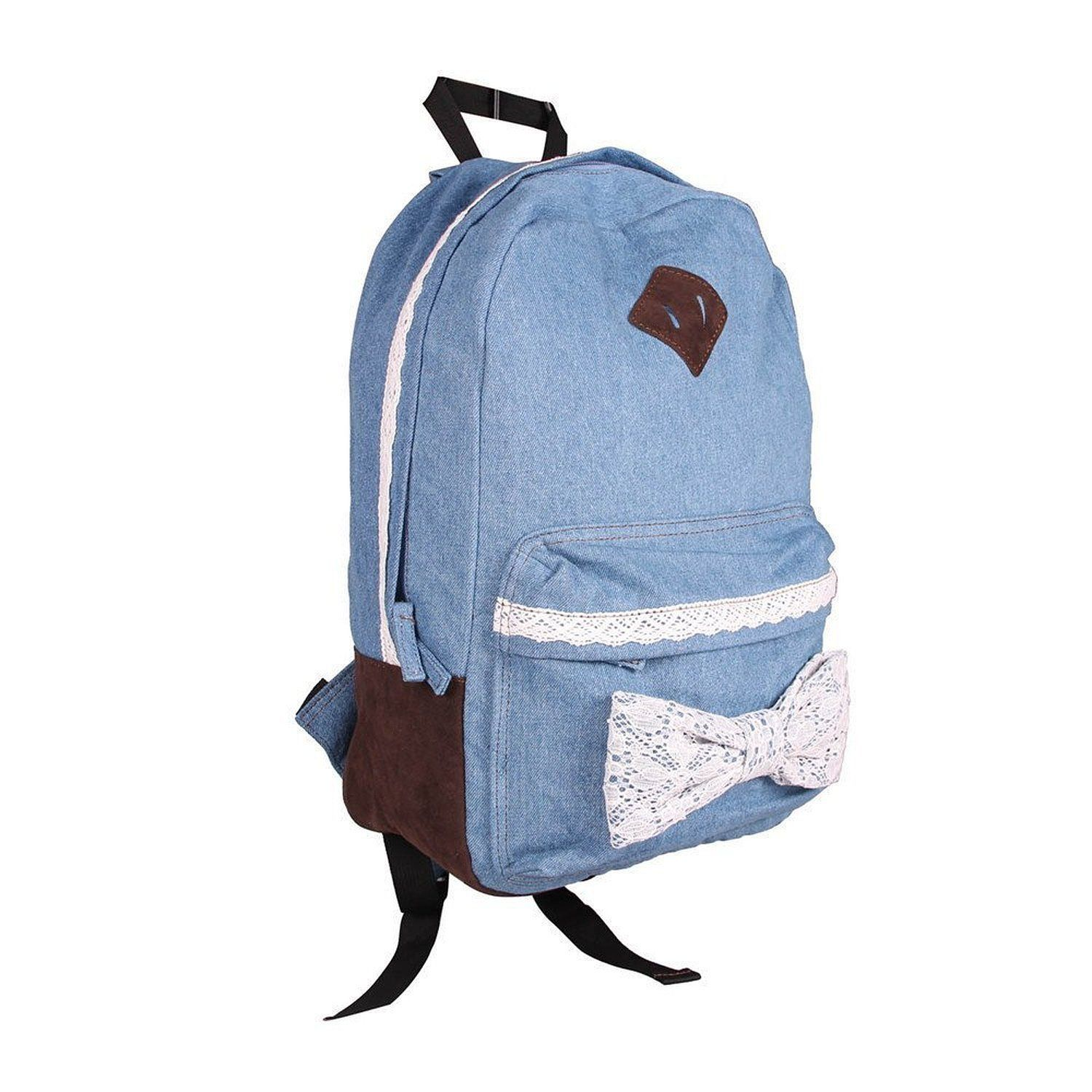 eforstore cute bow vintage lace jeans backpack 23 15 bags