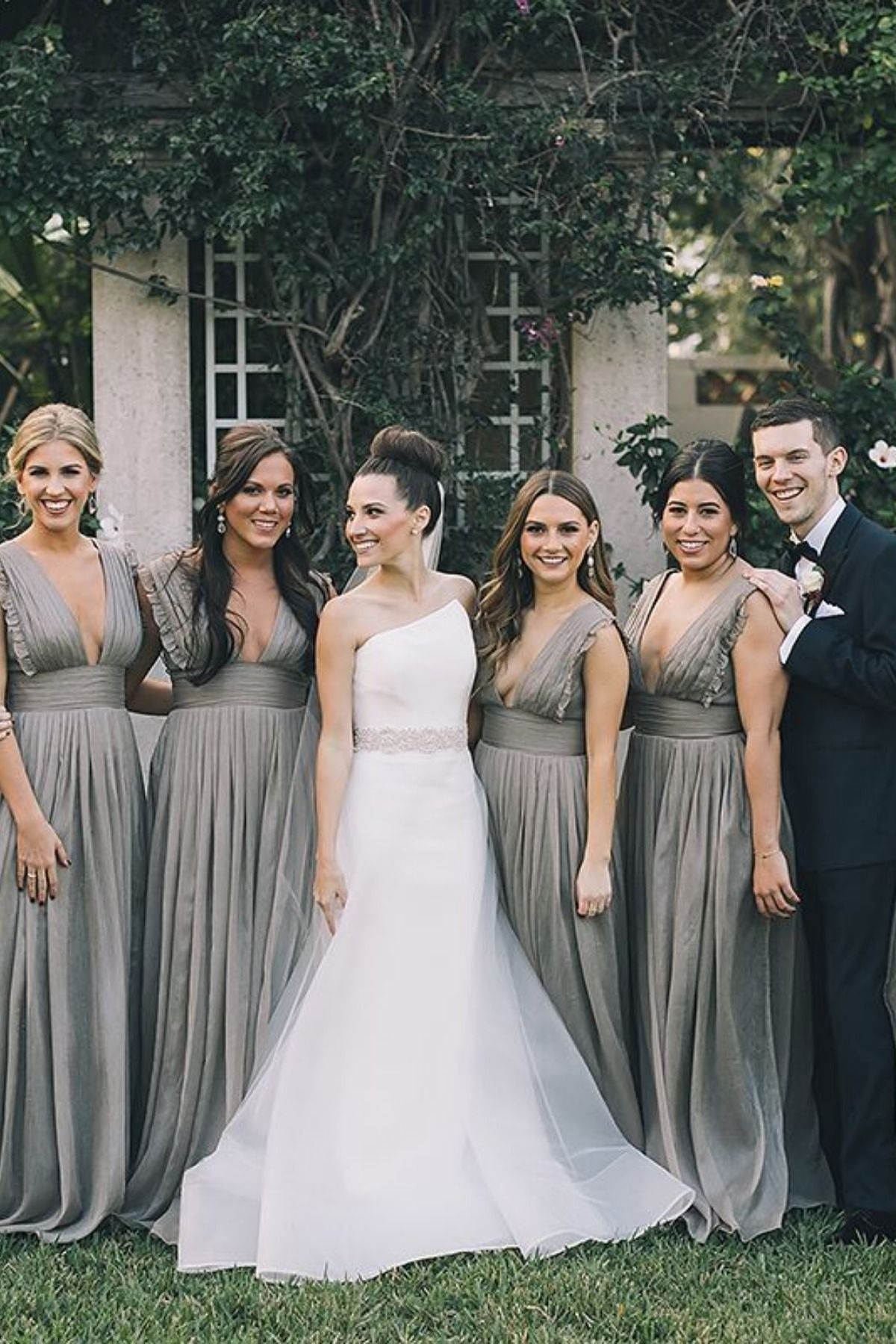 Stunning indoor Florida wedding bridal party at Flagler