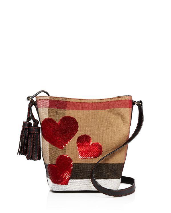 98160ae1bcd1 Burberry Ashby Canvas Check Sequin Heart Mini Crossbody