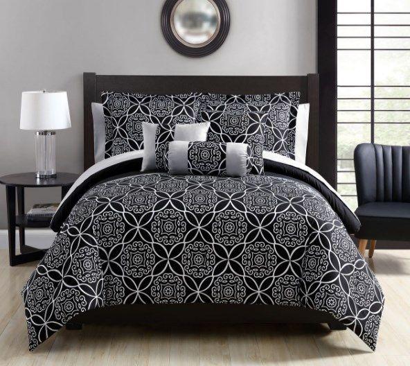 Best 10 Piece Mindy Black Gray White Comforter Set Queen King 400 x 300