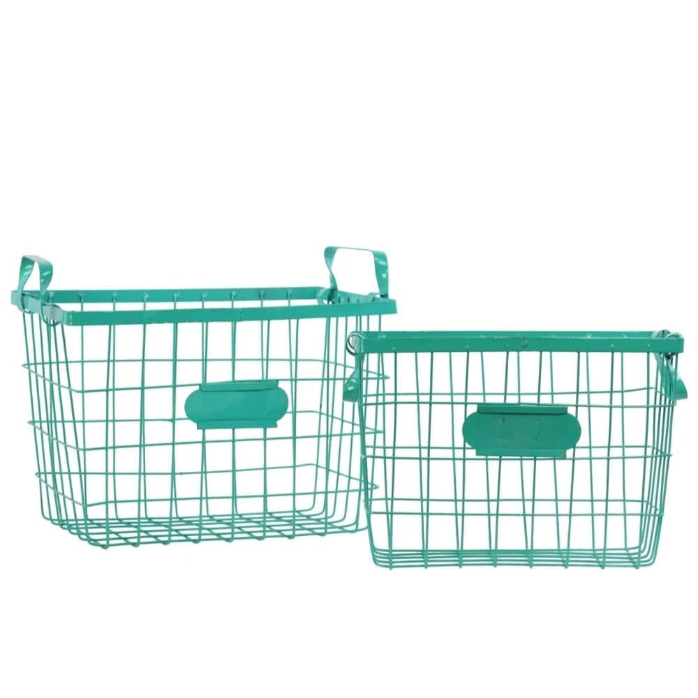 Benzara Wire Basket with Handles and Card Holders Set of Two - Green ...
