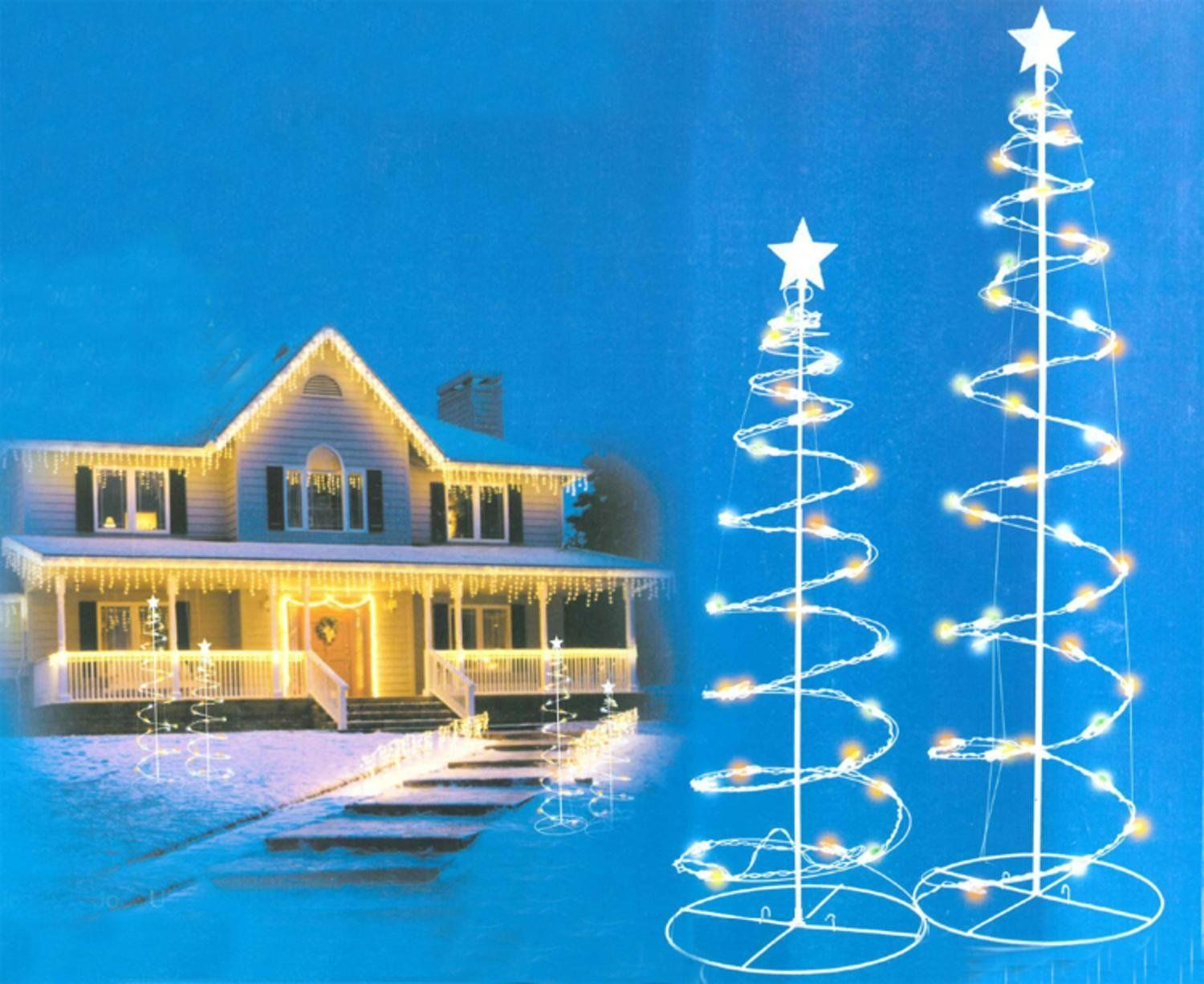 Set of 2 Multi-Color LED Lighted Outdoor Spiral Christmas Trees Yard Art 3u0027 4u0027 * You can find out more details at the link of the image.  sc 1 st  Pinterest & Set of 2 Multi-Color LED Lighted Outdoor Spiral Christmas Trees Yard ...