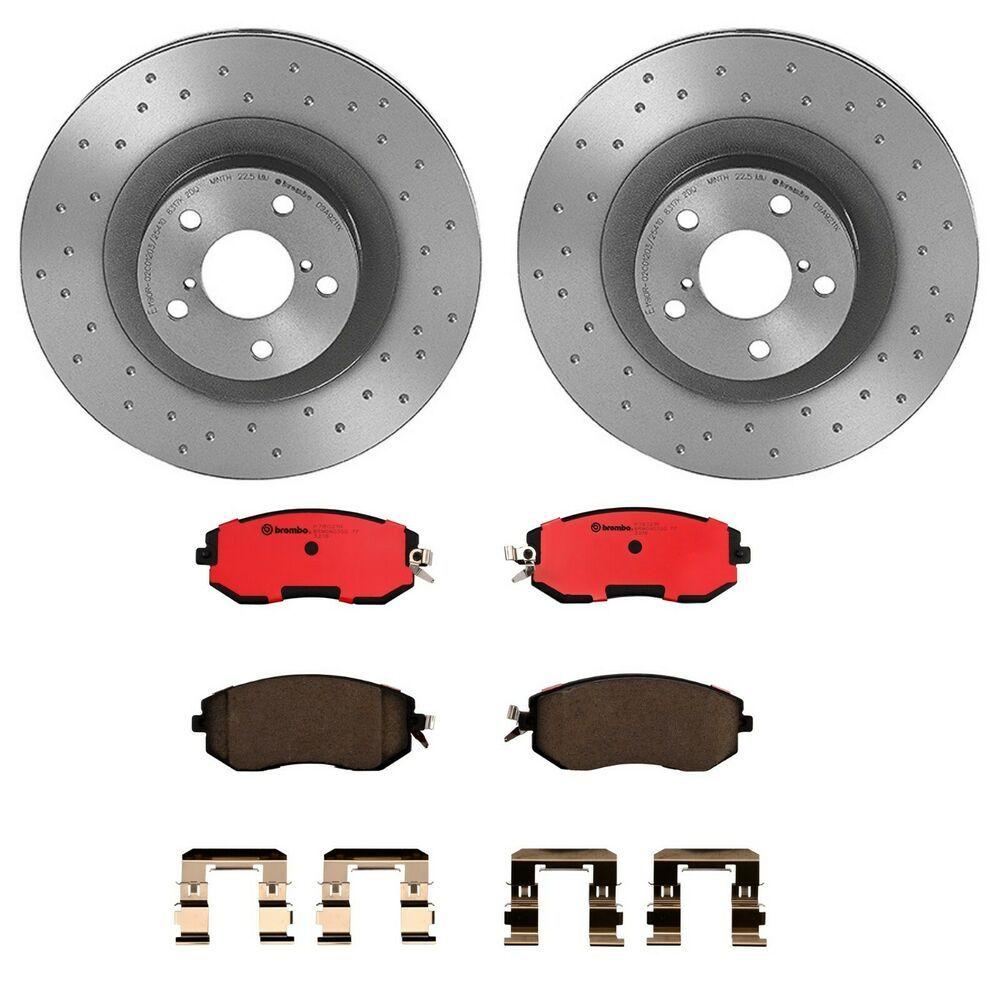 For 2005-2006 Subaru Legacy Front Rear Rear Slotted Brake Rotors+Ceramic Pads