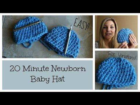 20 Minute Newborn Crochet Beanie Youtube Crochet Baby Hats Newborn Crochet Crochet Baby Hat Patterns
