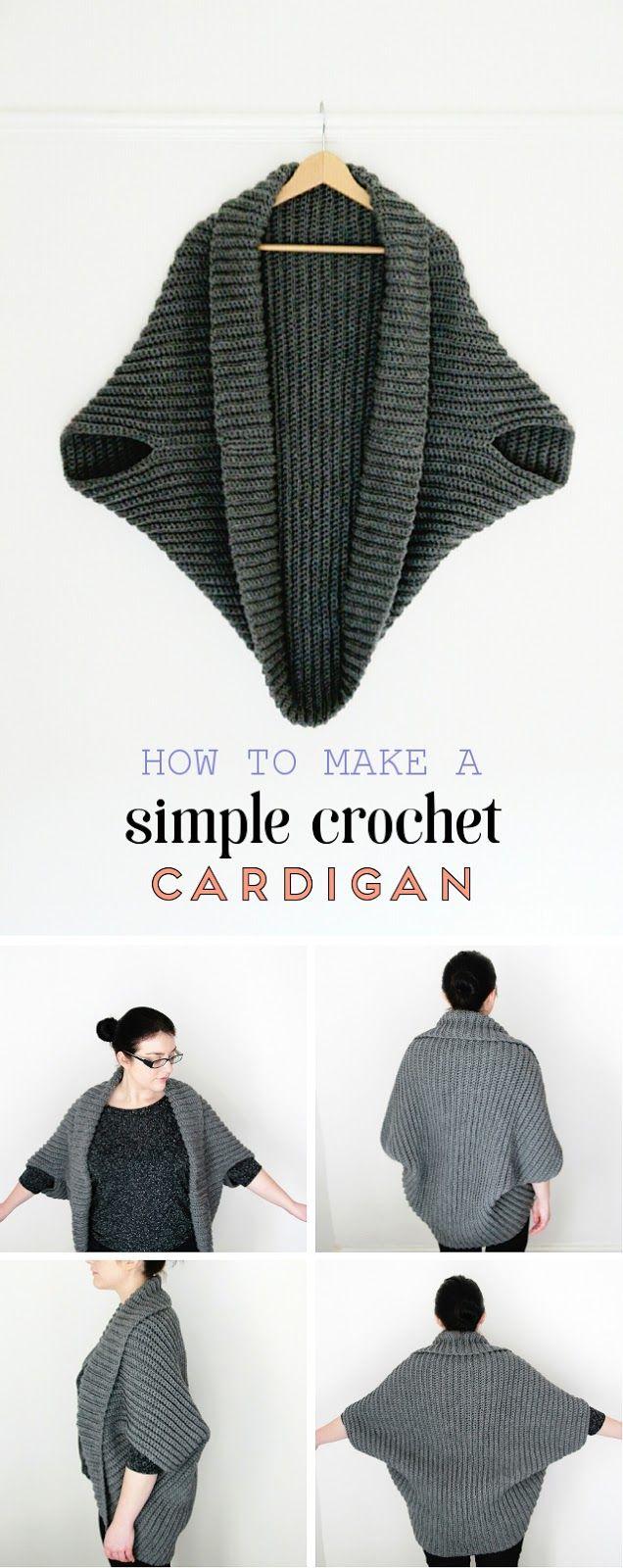 SIMPLE CROCHET CARDIGAN. | Ponchos, Blusas top y Tejido