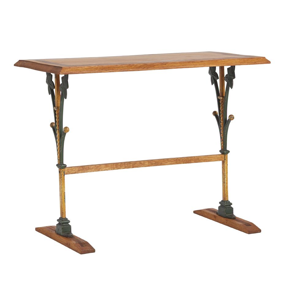 French Victorian Bistro Table W/ Ornate Iron Base