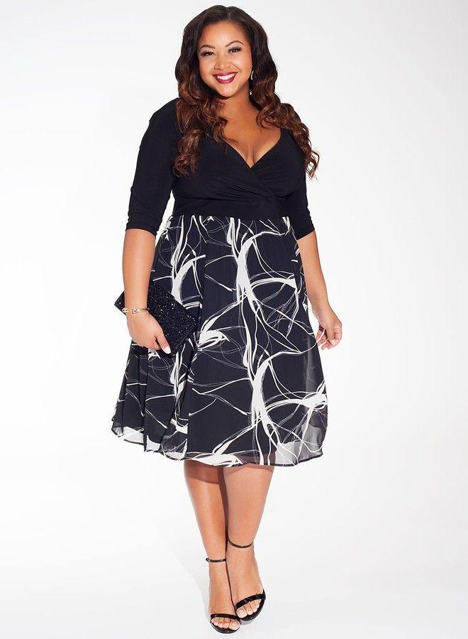 Kelly Plus Size Dress in Marble Noir | Plus size cocktail ...