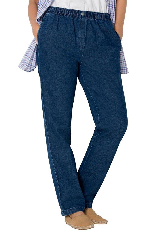 Women&39s Plus Size Petite Jean Pull On Elastic Waist *** Check
