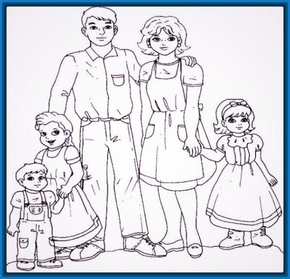 Dibujo De Una Familia Extensa Para Colorear Male Sketch Art Humanoid Sketch