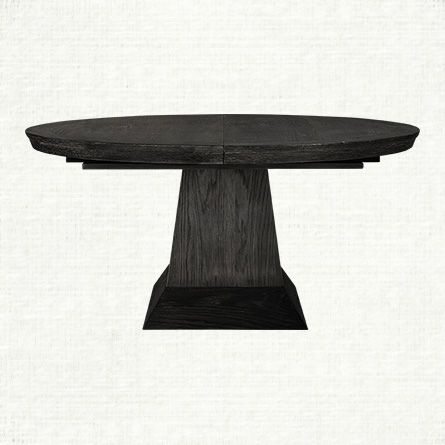Leighton 62 Round Pedestal Dining Table In Black Extends To 9775