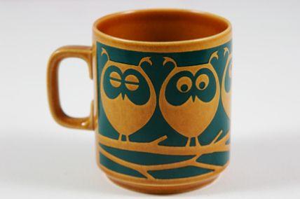 vintage Hornsea Pottery mug with owls