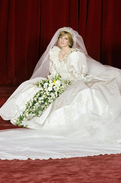 Princess Diana With Her Miringue Of A Bridal Gown 1980