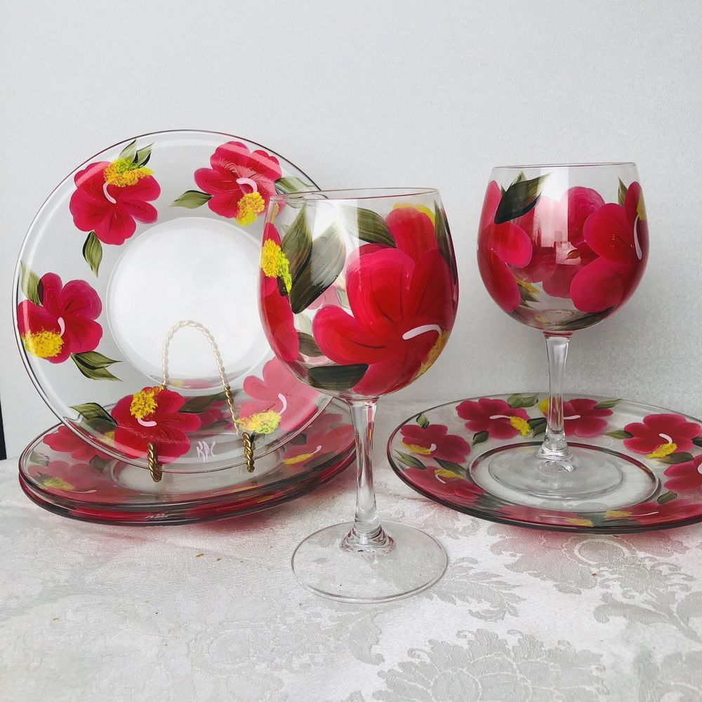 Set of 2 Hand Painted Wine Glasses Hibiscus Red