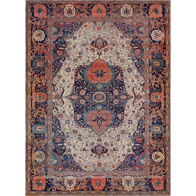 One Of A Kind Antique Kashan Mohtasham Handwoven Wool Orange Beige Indoor Area Rug Rugs Rugs On Carpet One Of A Kind Rugs