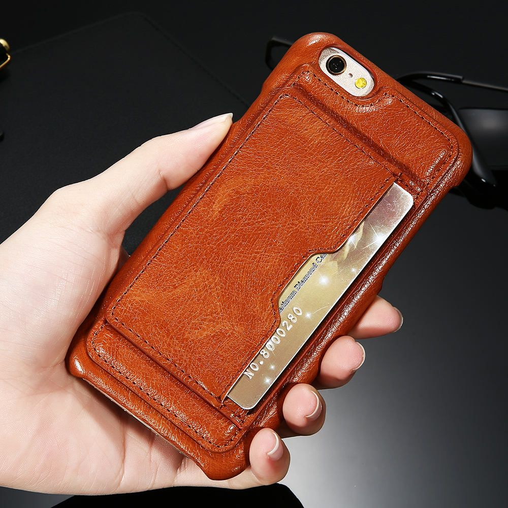 FLOVEME Vintage Leather Case For iPhone 6 6S Plus Card Slot Stand ...