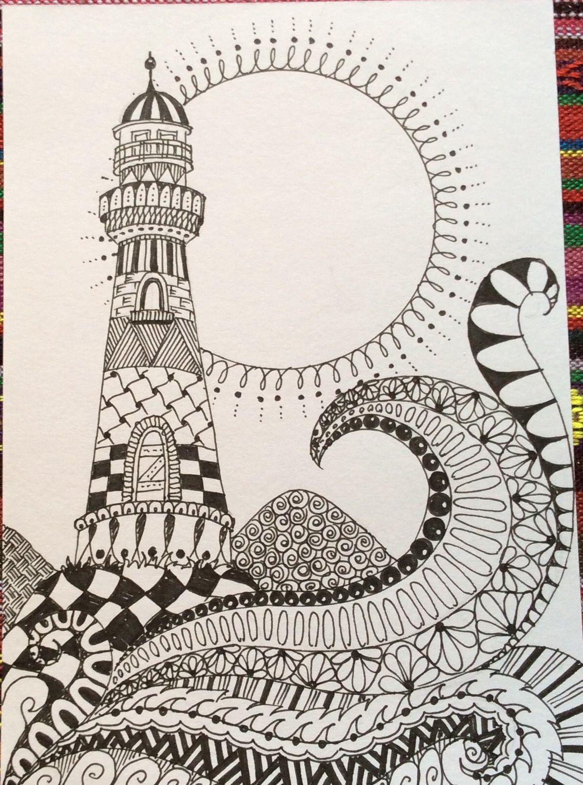 Lighthouse Zentangle Drawings Zen Art Mandala Art