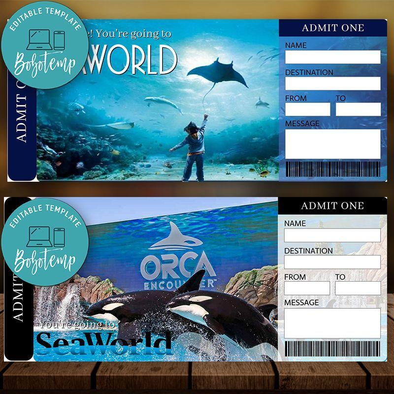 Printable Seaworld Surprise Trip Tickets Instant Download Seaworld Vacation Ticket Seaworld Boarding Pass Surprise Vacation Trip Sea World