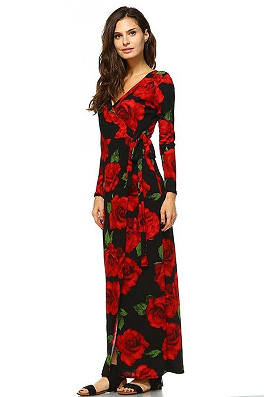 Black floral rose long sleeve maxi dress with slit usa products