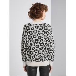 Photo of Tom Tailor Damen Sweater mit Leo-Muster, weiß, gemustert, Gr.S Tom TailorTom Tailor