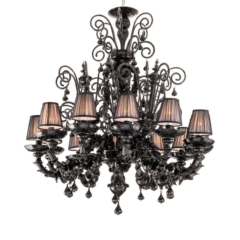Chandelier in rezzonico style with 12 lights in murano handmade chandelier in rezzonico style with 12 lights in murano handmade glass black colour with pleated lampshades mozeypictures Gallery