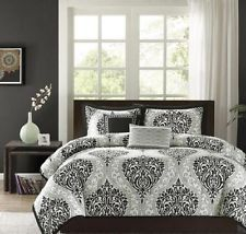 Gray Damask Comforter Tahari Home Silver Grey White Shimmer