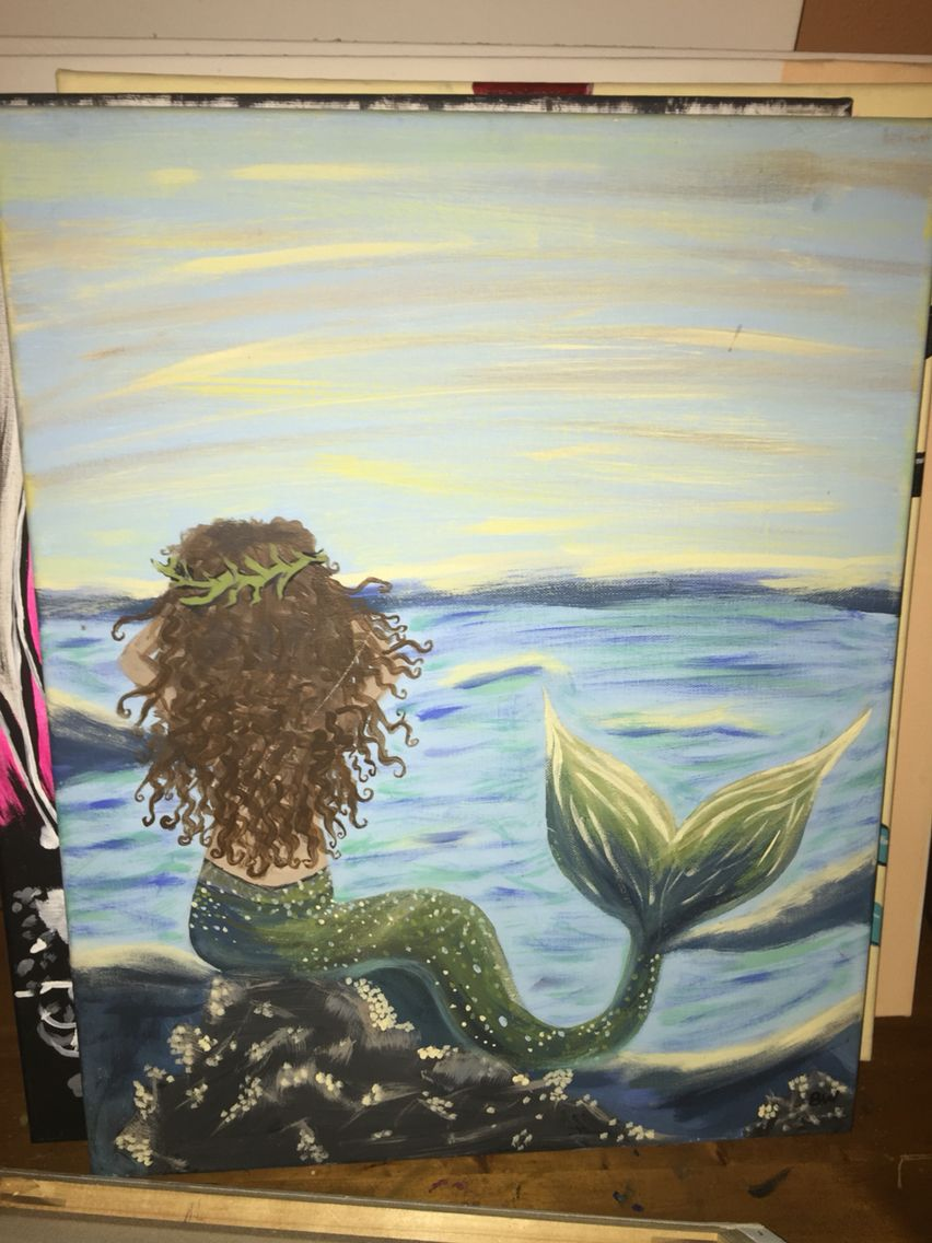 Paint and sip classes, wine and canvas, mermaid acrylic painting Www.facebook.com/paintandsipbybrittany Brittany.thetipsyeasel@gmail.com