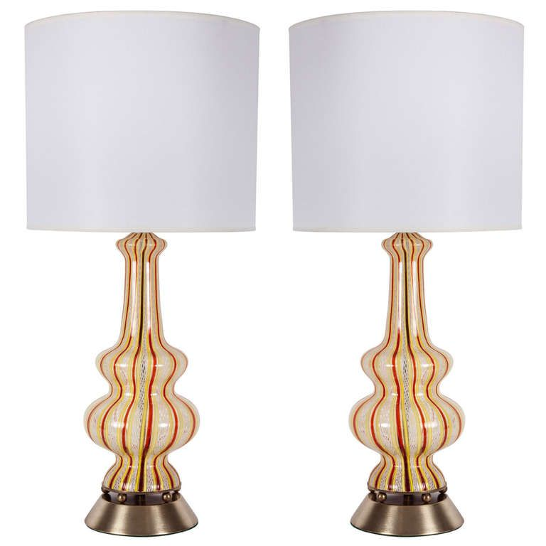 Pair Of Striped Latticino Murano Glass Lamps By Dino Martens From A Unique Collection Of Antique And Modern Table Lamps At Https Glass Lamp Lamp Murano Lamp