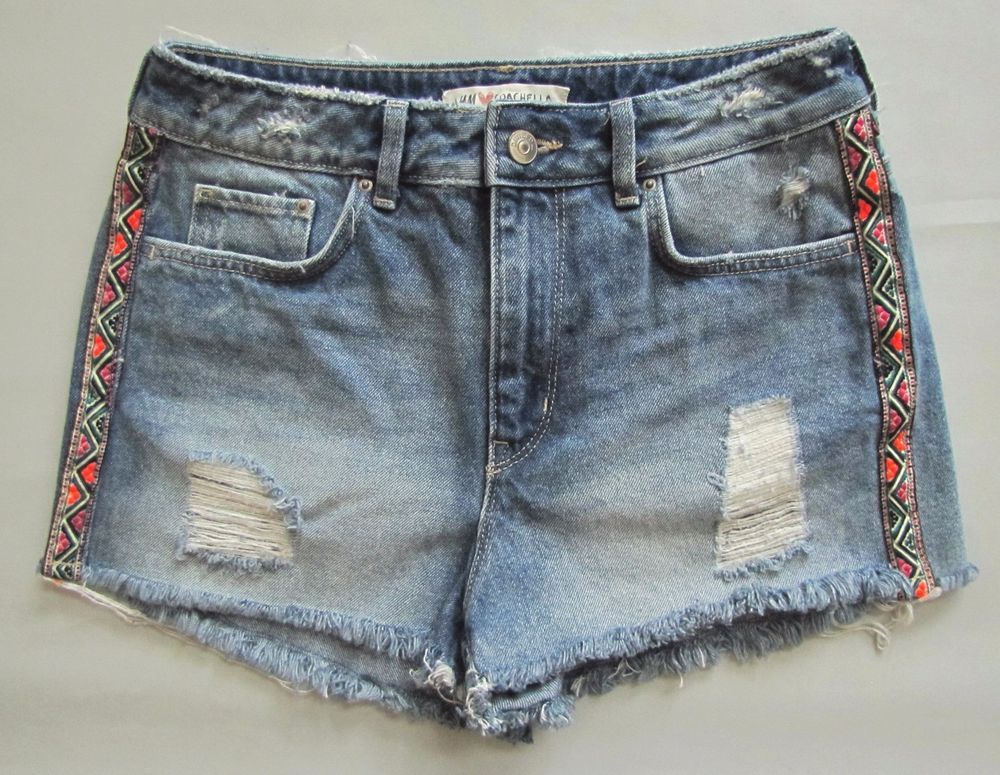 52b6344f447 H M Denim Shorts 6 US 36 Coachella Collection Cut Off Hi Rise Festival Blue  Jean  HM  CasualShorts  festival