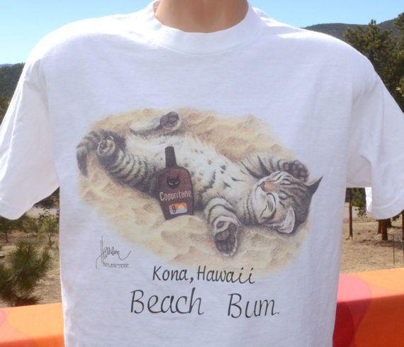 cf163de6a vintage 90s t-shirt KONA hawaii beach bum CAT copurrtone funny tee ...