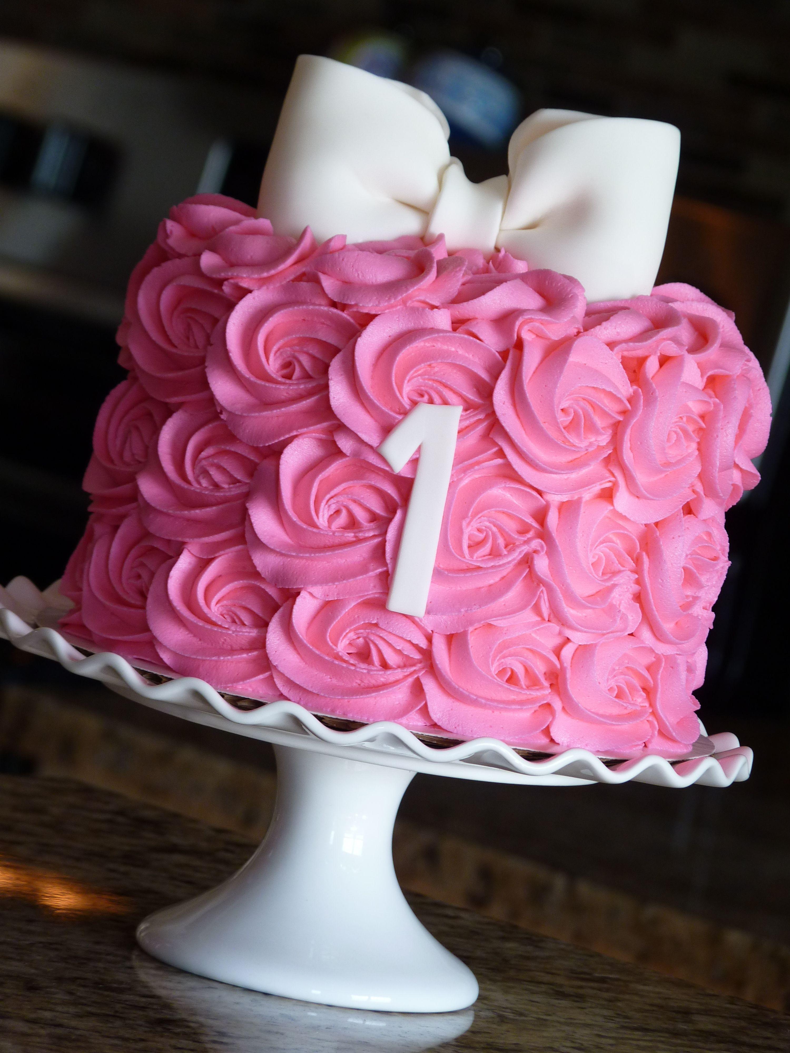 Hot Pink Rosette Smash Cake Mimissweetcakesnbakes Babygirl  -8878