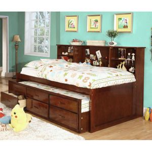 Hardin Cherry Bookcase Twin Captain Bed With Twin Trundle Drawer