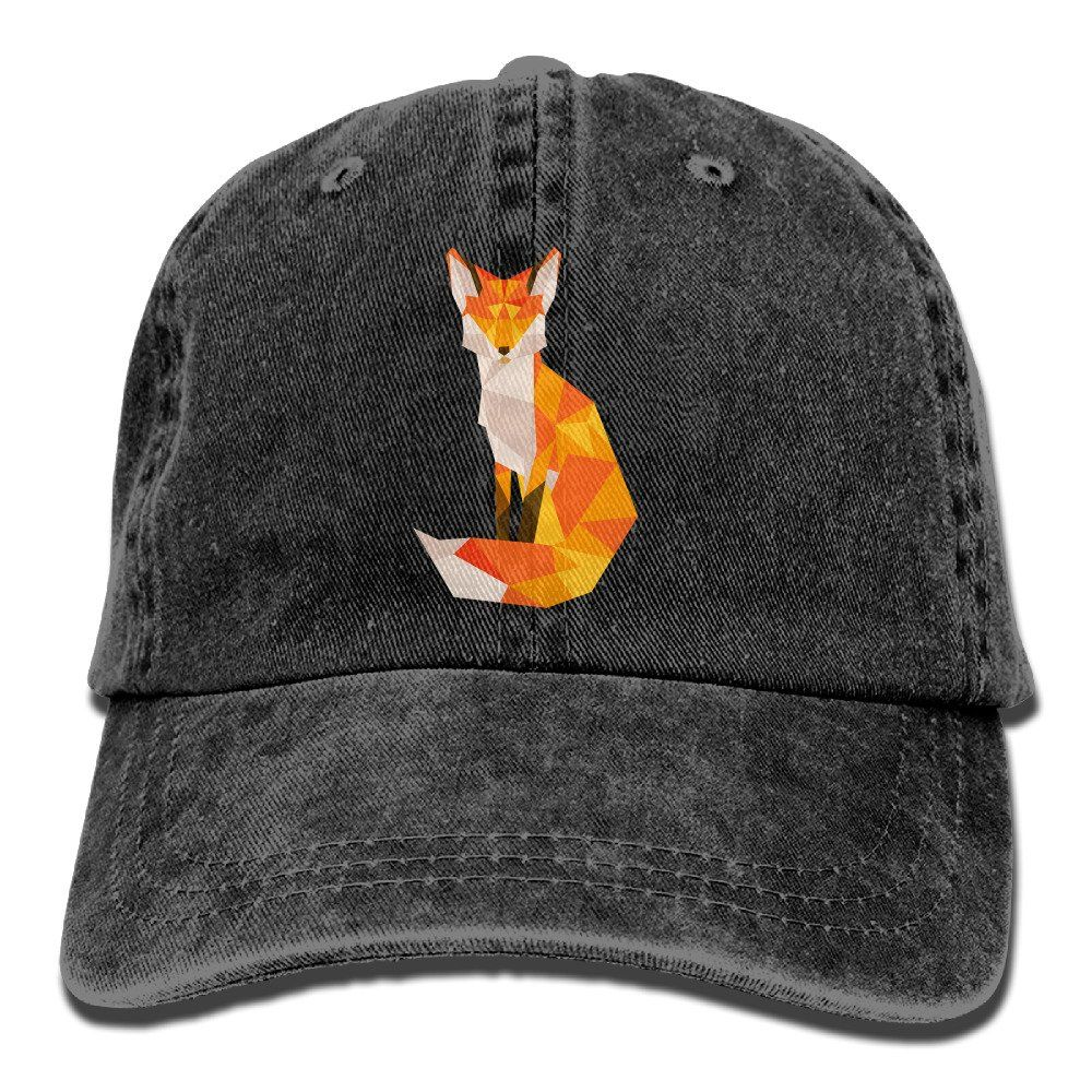 510579e1400a4 Geometric Fox Vintage Washed Dyed Cotton And Denim Hats Adjustable Baseball  Caps Black. Size