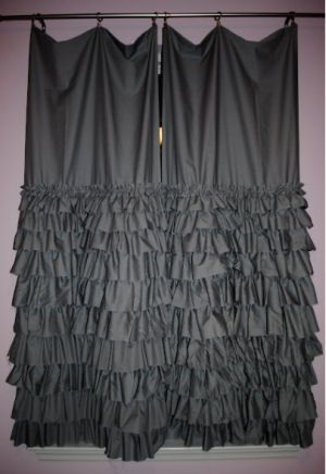 Charcoal gray ruffled bedroom curtains in a lavender purple girl ...