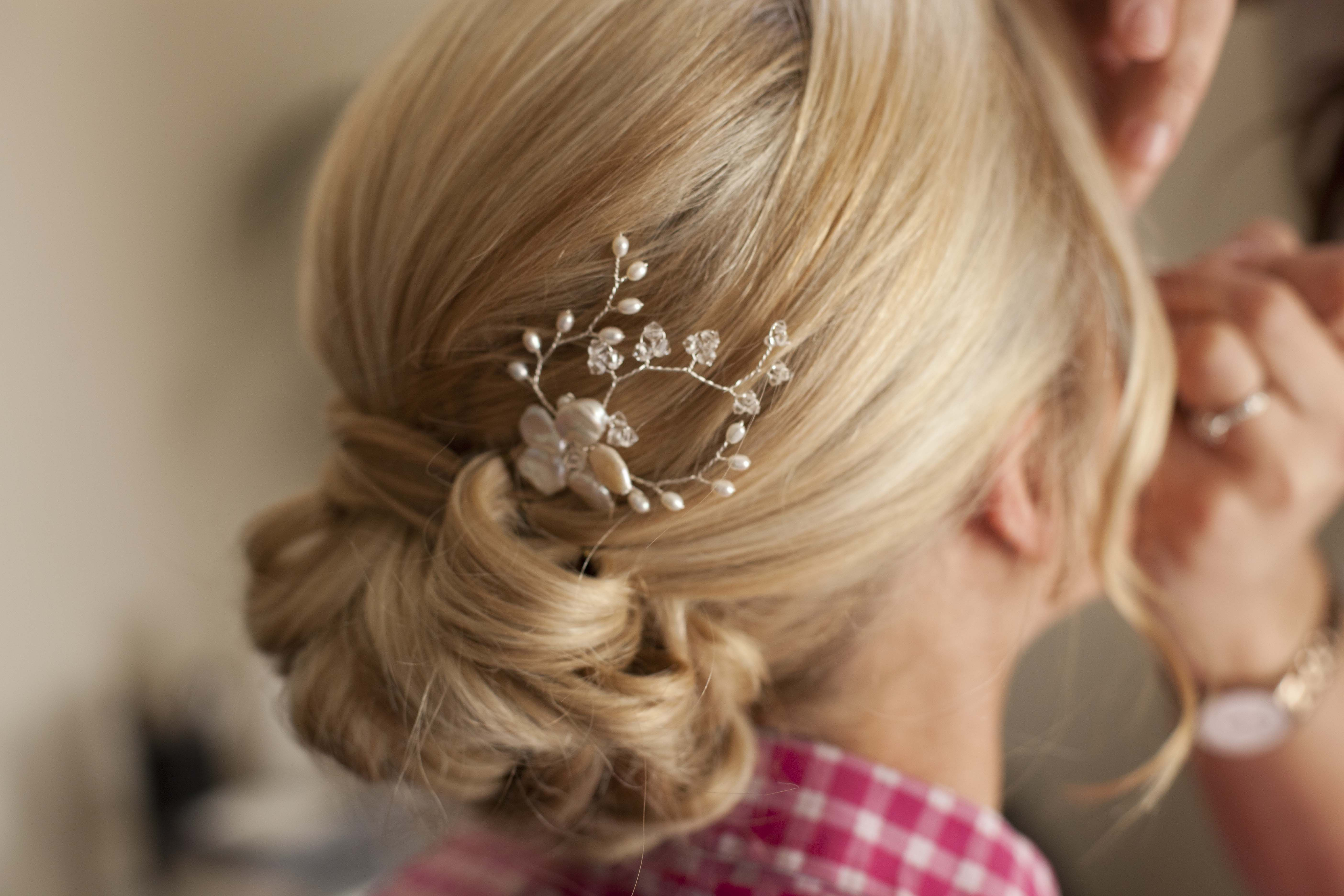 Jennifer wearing a Hermione Harbutt May Blossom Hair Pin | Rebecca Northway Photography | Blonde Hair Inspiration  http://www.hermioneharbutt.com/wedding/combs/buy.php?Product=316&Title=May+Blossom+Hairpins