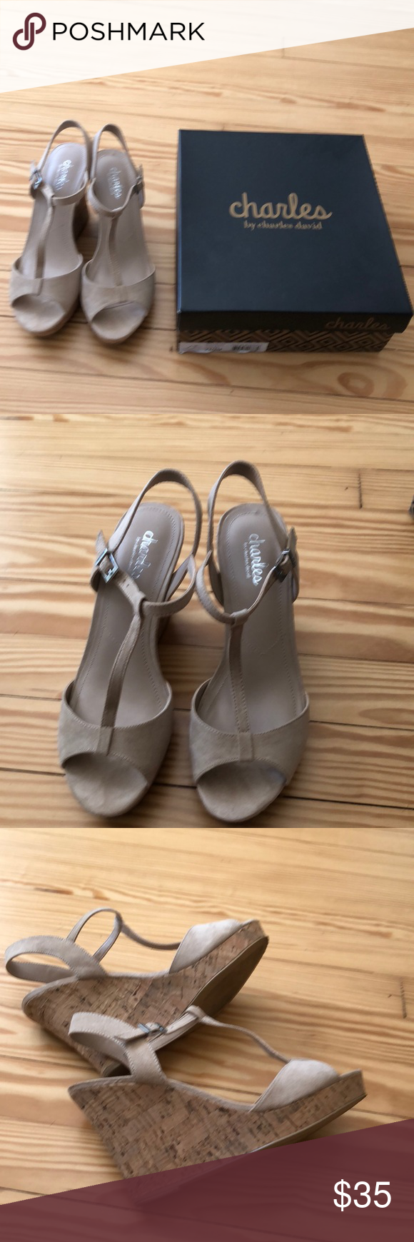 8982cad93db6 Charles By Charles David Lucas Shoe EC worn once Charles David Lucas T  strap corked wedge Microsuede Sandle size 7.5 Charles David Shoes Sandals