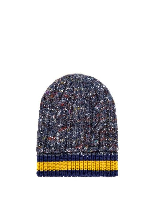 cc354697e336 Work Gucci s eclectic spirit into transitional looks with this  speckled-blue hat. It s knitted from a blend of wool and silk with a chunky  cable pattern, ...