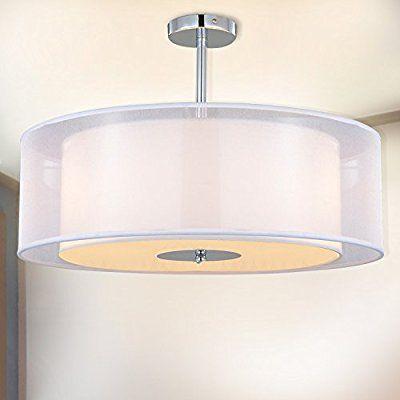 SPARKSOR Leuchten Stoff Trommel Deckenleuchte in Chrom matt - leuchten fürs wohnzimmer
