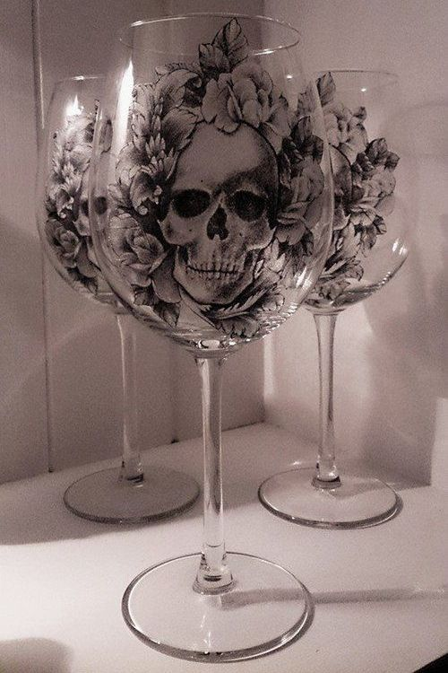 Skull And Roses Gothic Wine Glass Goth Pinterest
