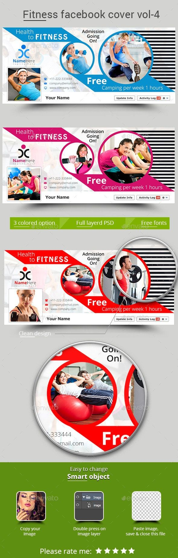 Fitness Facebook Cover Vol- 4 #Affiliate #Facebook, #AD, #Fitness, #Vol, #Cover
