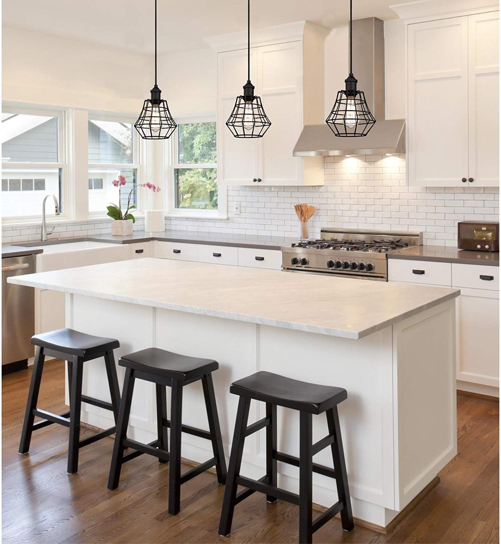 White Bright Kitchen Featuring Vintage Industrial Mini Pendants In A Matte Black Finish Amazon Modern Outdoor Kitchen Outdoor Kitchen Design Kitchen Design