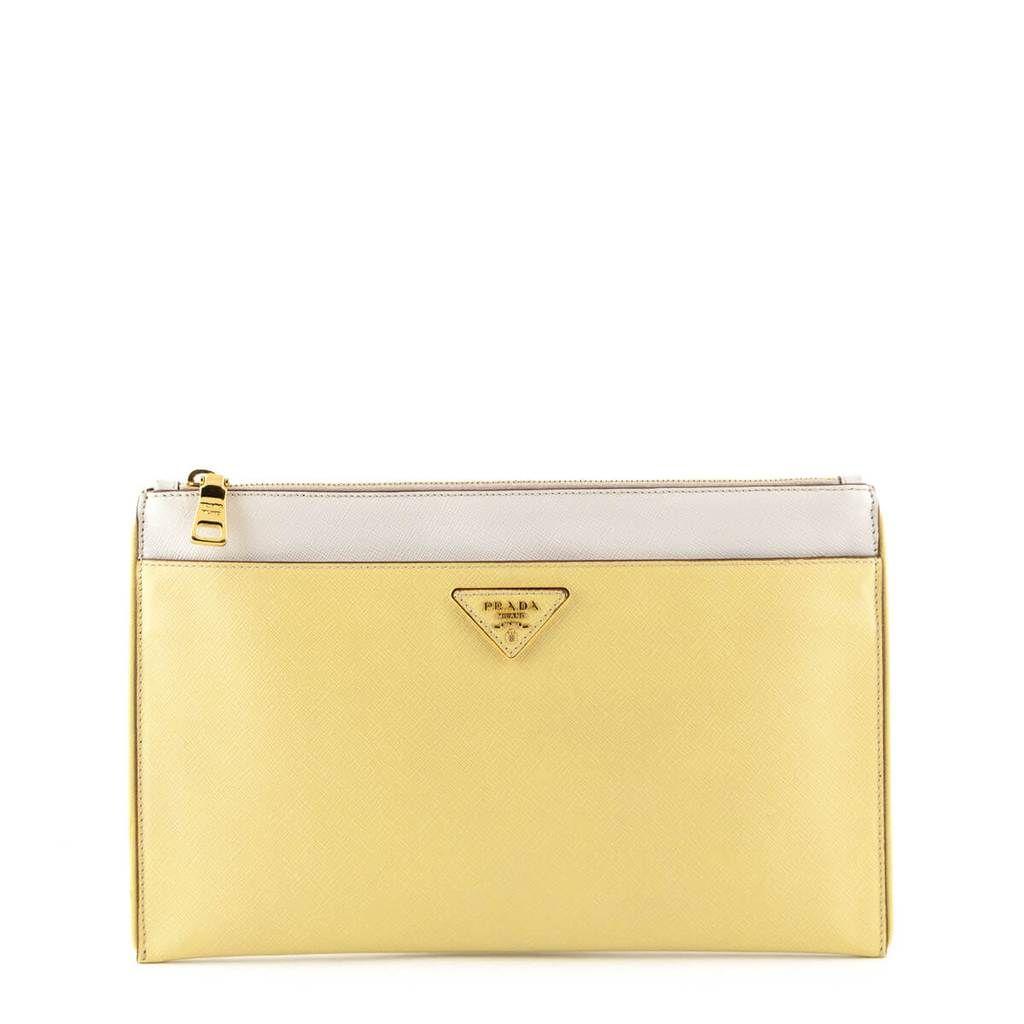 410cd8f404fe Prada Yellow Bicolor Saffiano Zip Clutch - LOVE that BAG - Preowned  Authentic Designer Handbags