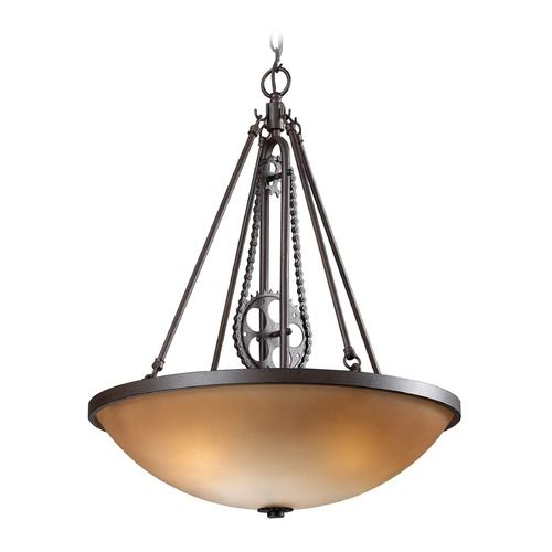 Elk Lighting Cog And Chain Vintage Rust Led Pendant Light With Bowl Dome Shade At Destination Lighting Elk Lighting Led Lights Led Pendant Lights