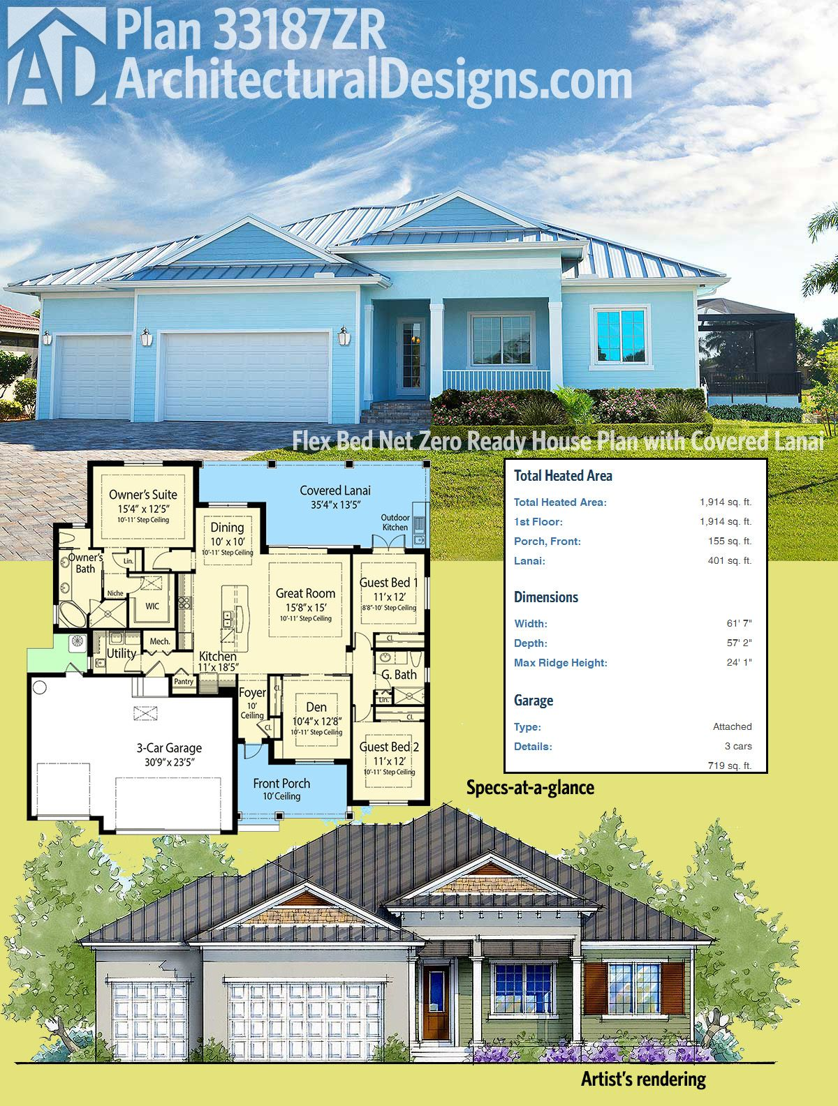 Plan 33187zr Flex Bed Net Zero Ready House Plan With Covered Lanai House Plans Architectural Design House Plans House