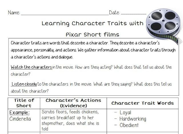 Learning Character Traits With Pixar Short Films  Teaching