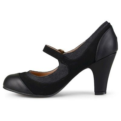 Women's Journee Collection Siri Two-Tone Tweed Mary Jane Pumps - Black 7.5