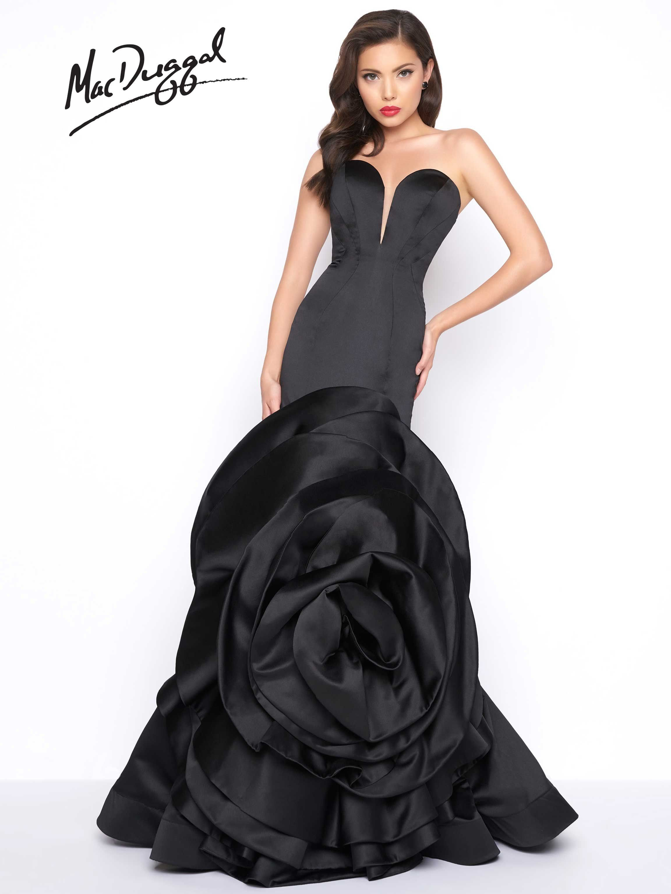 8d0ff7b93197 Black, satin, princess seam, sweetheart neckline, mermaid formal gown with  exaggerated rose