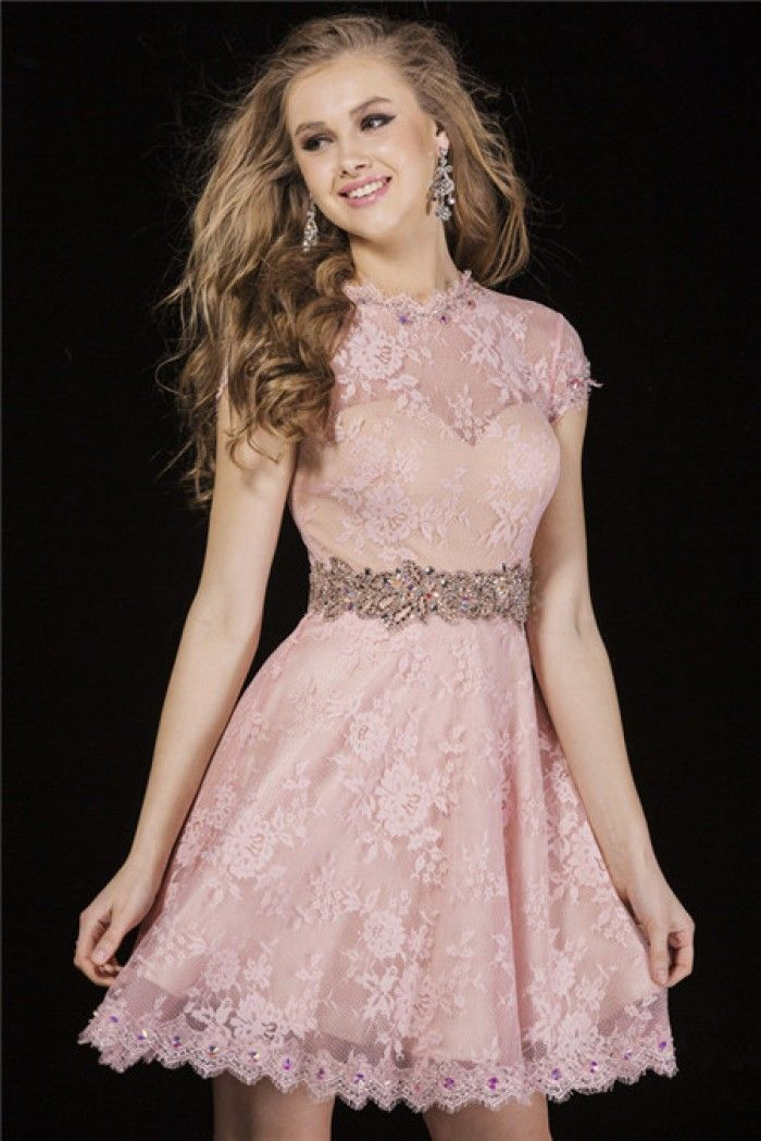 A Line High Neck Cap Sleeve Open Keyhole Back Short Pink Lace ...