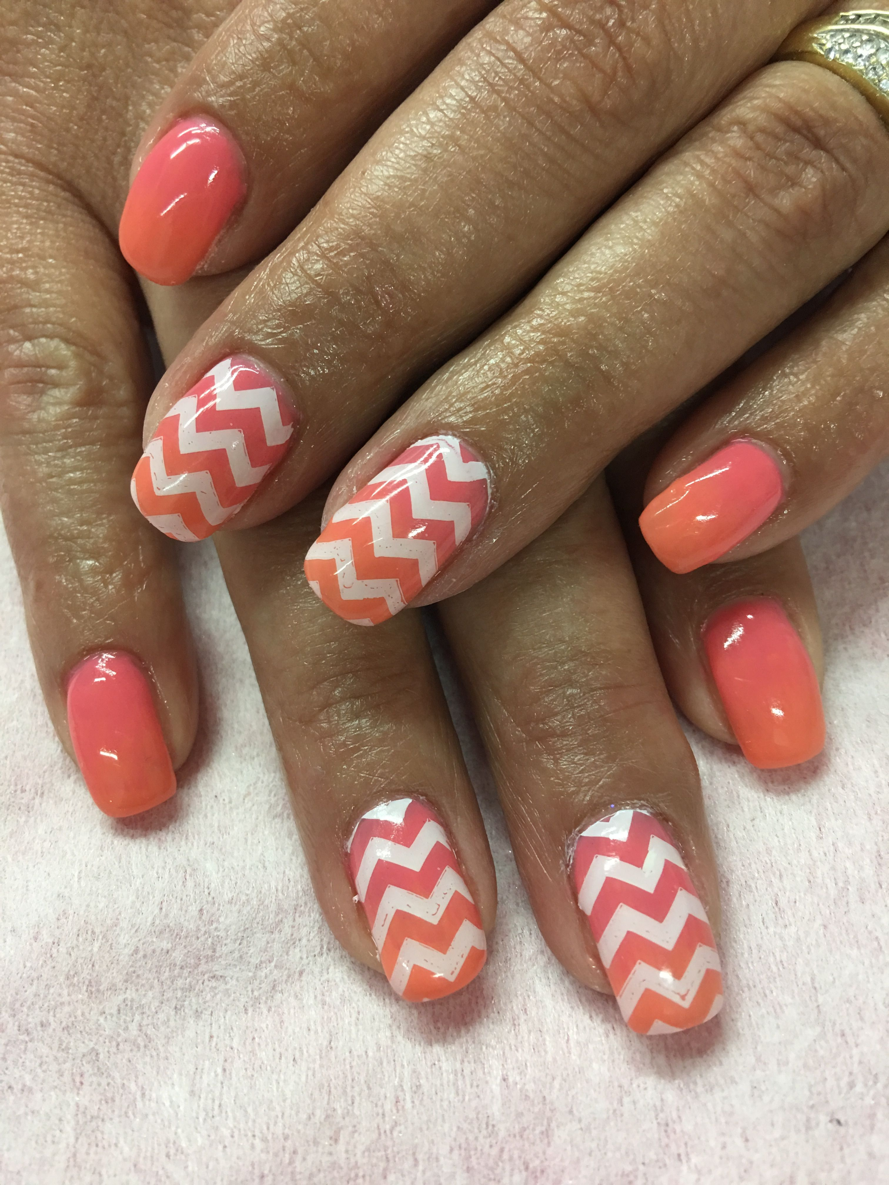 Pink Peach Coral Orange Ombr Stamped Chevron Gel Nails Gel Nail
