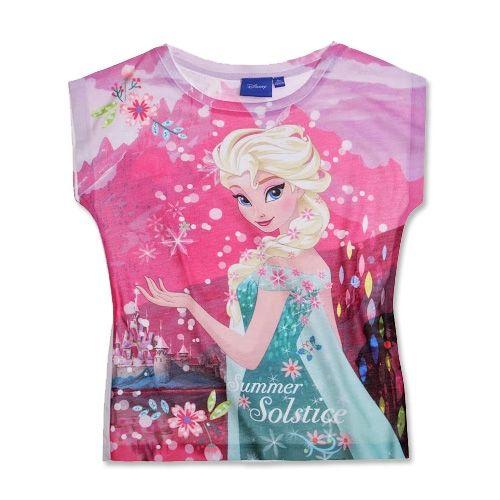 3b4ff4188ef Disney Frost Frozen Anna Elsa T-shirt Stort Print Lyserød | Vi <3 ...